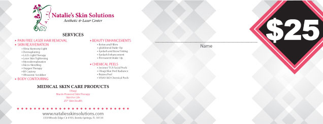 $25 Natalies Skin Solutions Gift Certificate