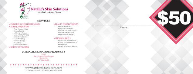 $50 Natalies Skin Solutions Gift Certificate
